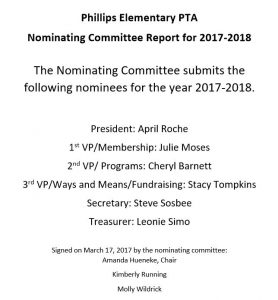 Nominating Committee Report for 2017-18 PTA Board