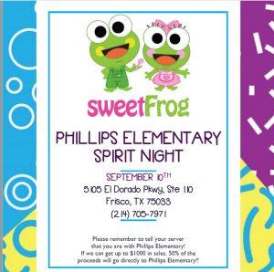 Sweet Frogs Spirit Night